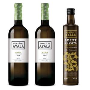Pack de dos botellas de vino y una de aceite
